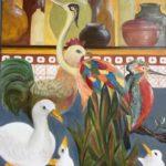 Bestiaire et poteries de cuisine , M. Dalivoust, huile sur toile, 72x60