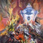 Le feu, G. Lehuen, huile, 80x60