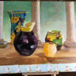 Colonnades, L. Martin, huile sur toile 73x60