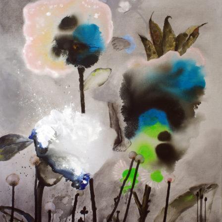 TROIS PAPILLONS BLANCS Acrylique sur toile,  195 x 130 cm